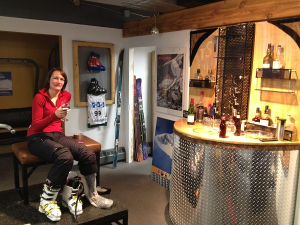 Having a nice Red wine while fitting the best ski boots in the world!