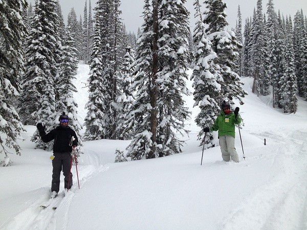 Playing in the powder at Revelstoke Mountain Resort