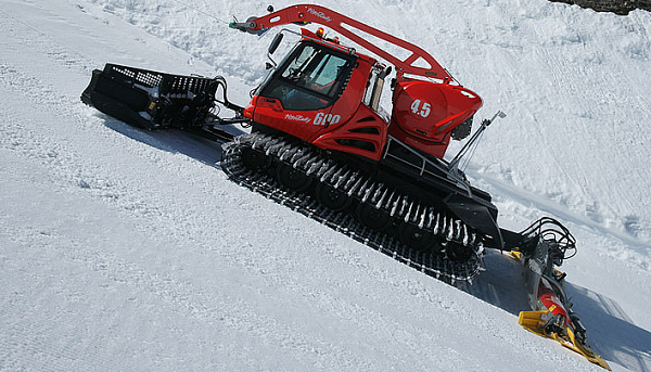 This a typical snow cat used to groom slopes inside a resort