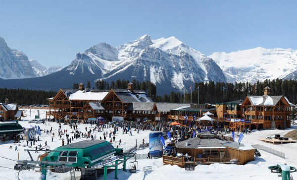 The base area of Lake Louise Ski Area and Mountain Resort on a busy day!