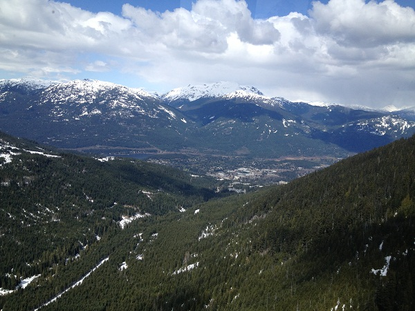Amazing view of the town of Whistler from the Peak2Peak Condola