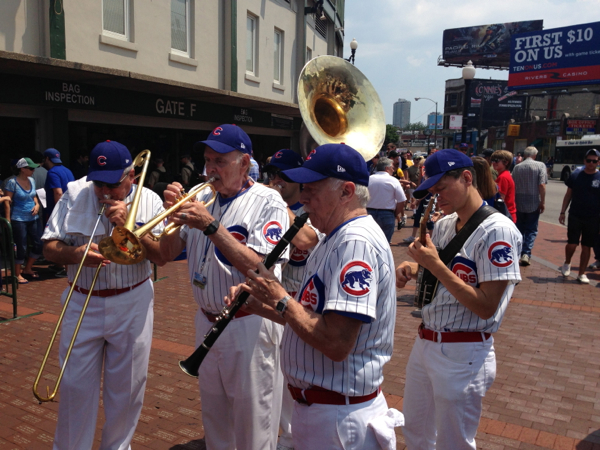 Brass Band playing outside Wrigley Field before the game.