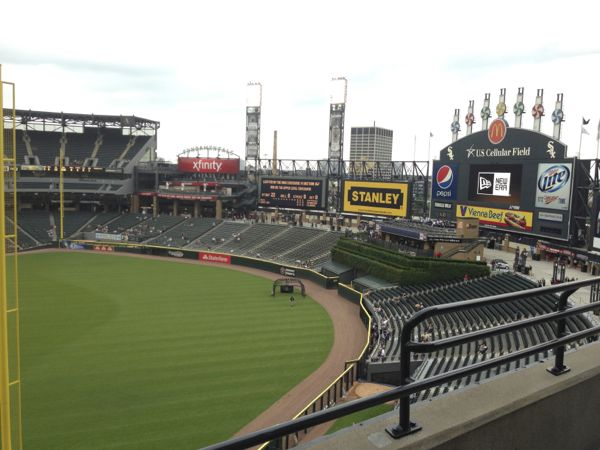 The Giant Scoreboard and Bleacher seat at US Cellular Field