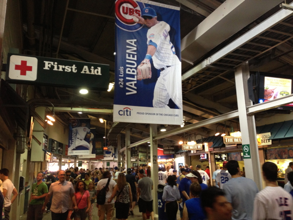 Busy concourse before the start of the gam at Wrigley Field.