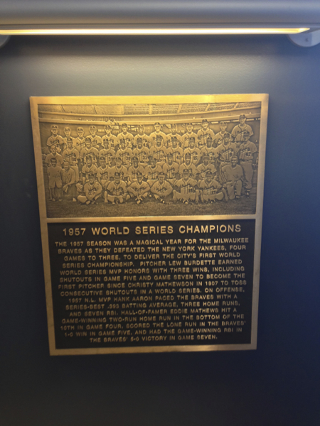 1957 Braves World Series Champions, Braves have since moved to Atlanta
