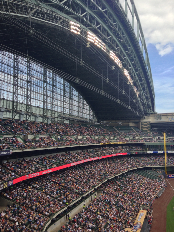 View of one side of the retractable roof from our seats
