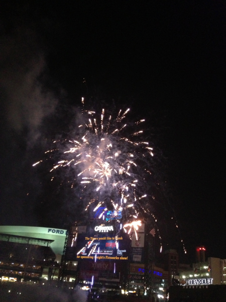 Fireworks display with the scoreboard in the background at Comerica Park