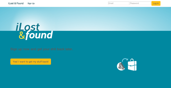 Home page for iLostandFound - Our app from Builders Weekend