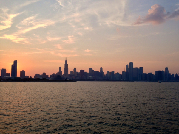 The sun setting over Chicago. Where is the future US taxpayers going to come from?