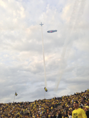 Jet flying over The Big House!